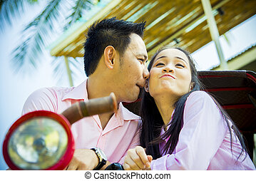 romance, par, encantador, scene2, beijo
