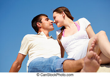 Romance - Photo of peaceful couple looking at each other ...