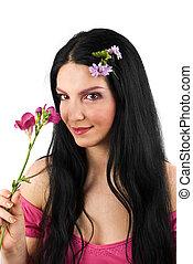 romance, primavera, mujer, flor
