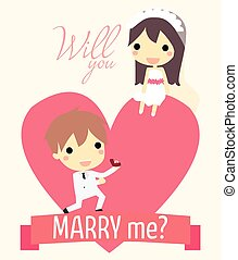 romance propose couple - cute couple in big heart. with ring...