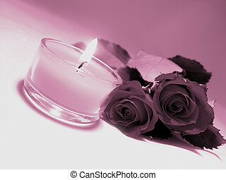 Romance - Romantic image of roses and a candle