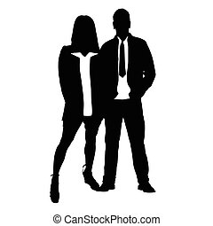 romance, silhouette, couple, amour, illustration