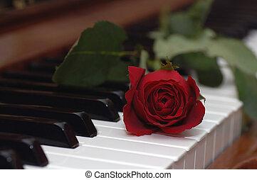 romance - single rose placed over piano keys