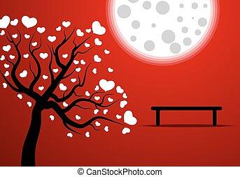romance, sous, lune