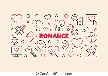 Romance vector line banner made with heart and love icons