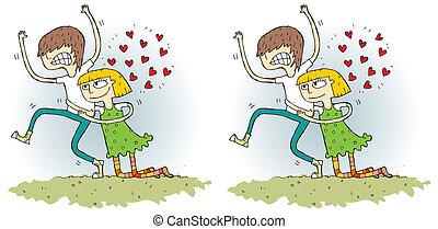 romance, visuel, différences, jeu