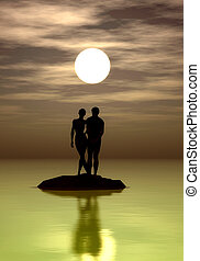 Romance - Young couple in the nightlight surrounded by water