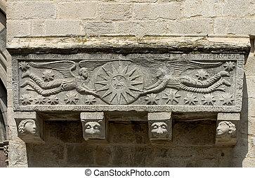 Romanesque art - Romanesque sarcophagus in Girona cathedral,...