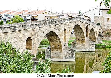 romanesque bridge over river Arga, Puente La Reina, Road to Santiago de Compostela, Navarre, Spain