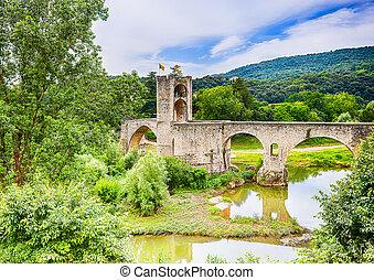 Romanesque bridge over the Fluvia river at Besalu
