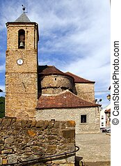 Romanesque cathedral church in Hecho Aragon Pyrenees Spain