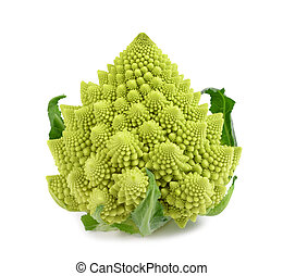 Romanesque cauliflower - Roman cauliflower isolated on white...