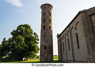 Romanesque cylindrical bell tower of countryside church -...