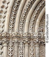 romanesque - Jak Romanesque church entrance carved stone...