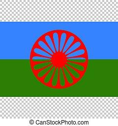 romani, haut, drapeau, vecteur, fin, gens.
