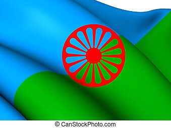 Romani People Flag. Close Up.