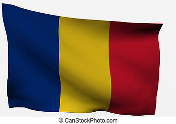 Romania 3d flag isolated on white