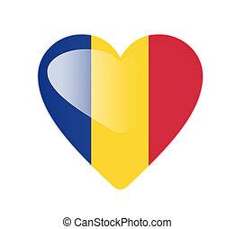 Romania 3D heart shaped flag