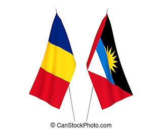 Romania and Antigua and Barbuda flags - National fabric ...