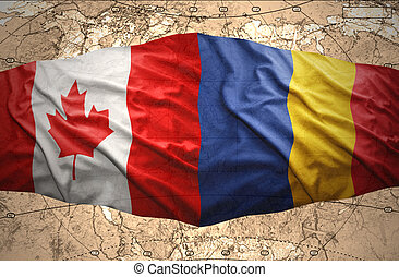 Romania and Canada - Waving Romanian and Canadian flags of...