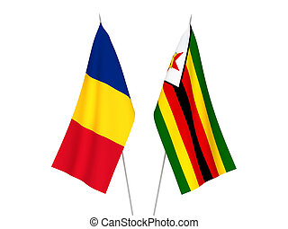 Romania and Zimbabwe flags - National fabric flags of ...