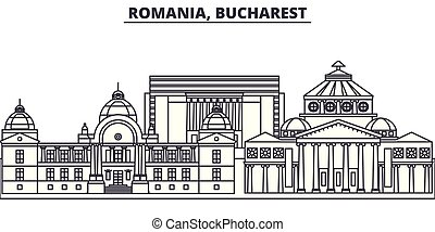 Romania, Bucharest line skyline vector illustration. Romania, Bucharest linear cityscape with famous landmarks, city sights, vector design landscape.