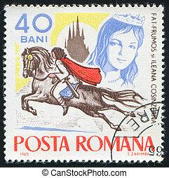 ROMANIA - CIRCA 1965: stamp printed by Romania, shows Fairy Tales, Fat-Frumos on horseback and Ileana Cosinzeana, circa 1965