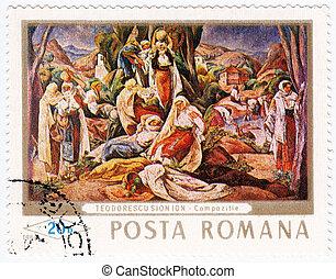 ROMANIA - CIRCA 1968 : stamp printed in Romania show pic Composition, painter Teodorescu Sionion, circa 1968