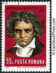 ROMANIA - CIRCA 1970: A stamp printed in Romania shows Ludwig van Beethoven (1770-1827), composer, circa 1970