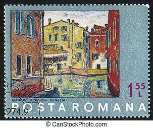 Painting - ROMANIA - CIRCA 1972: stamp printed by Romania, ...