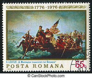 "ROMANIA - CIRCA 1976: stamp printed by Romania, shows picture ""Washington crossing the Delaware"", by Emanuel Leutze, circa 1976"
