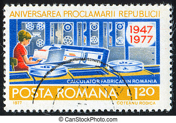 Computer - ROMANIA - CIRCA 1977: stamp printed by Romania,...
