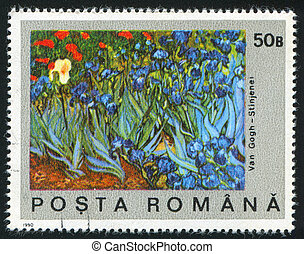 ROMANIA - CIRCA 1990: stamp printed by Romania, shows Field of Irises by Vincent Van Gogh, circa 1990