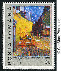 ROMANIA - CIRCA 1990: stamp printed by Romania, shows Night on the Coffee Terrace by Vincent Van Gogh, circa 1990