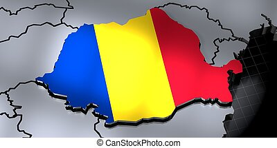 Romania - country borders and flag - 3D illustration