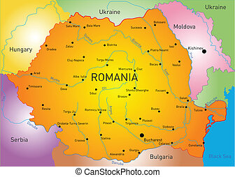 Romania - Vector color map of Romania country