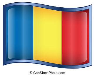 Romania Flag icon, isolated on white background.