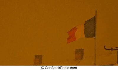 Romania Flag in Night Snowing