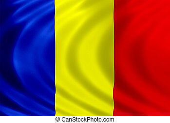 Romania flag of silk
