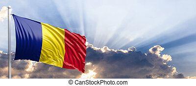 Romania flag on blue sky. 3d illustration - Romania waving...