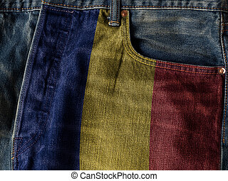 Romania flag On Jeans Denim Texture. The concept of Romania national flag on denim Jeans background. Ideal for Romania Textile Industry Or Politics Concept.
