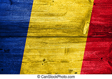 Romania Flag painted on old wood plank background