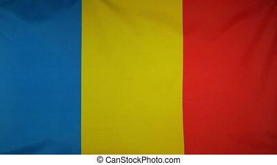 Romania Flag real fabric Close up - Textile flag of Romania...