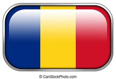 Romania Flag rectangle glossy button
