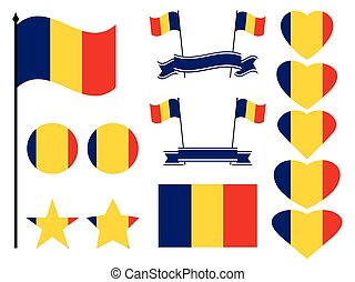 Romania flag set. Collection of symbols heart and circle. Vector illustration