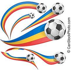 romania flag set with soccer ball