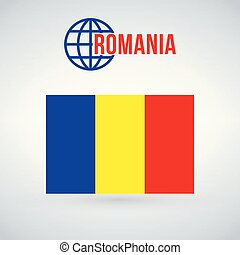 Romania flag, vector illustration isolated on modern background with shadow.