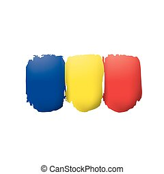 Romania flag, vector illustration on a white background.