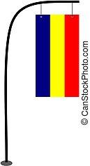 Romania flag vector on pole