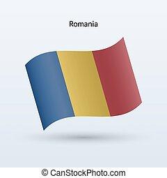 Romania flag waving form. Vector illustration.